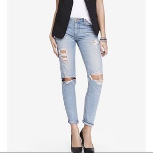Express light wash distressed girlfriend jeans 4